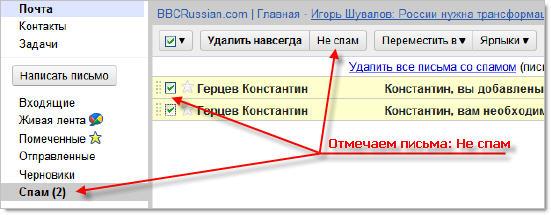 Папка со спамом в Gmail