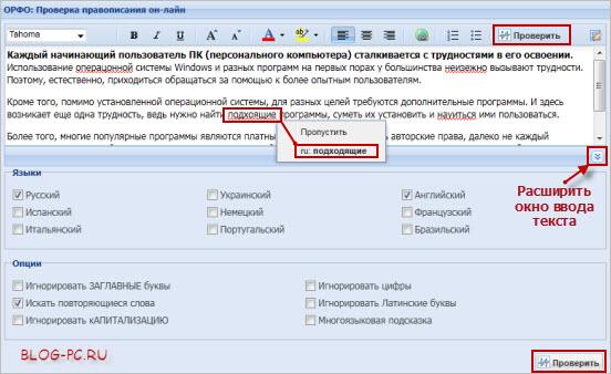 Проверка русской орфографии текста онлайн