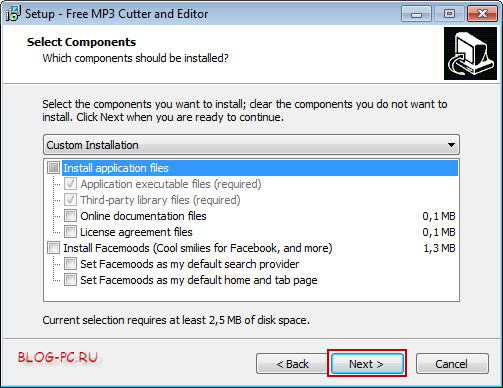 Настройки установки Free MP3 Cutter and Editor