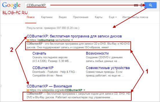 Поиск информации о программе в поисковике