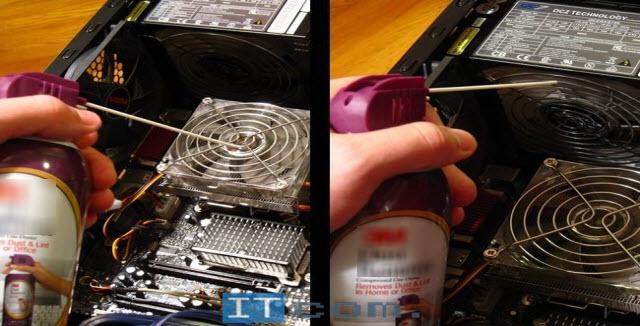 Очистка компьютера сжатым воздухом