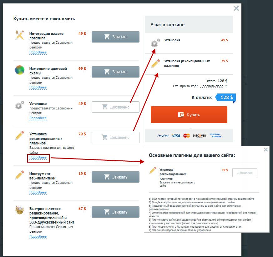 Дополнительные услуги создания сайта TemplateMonster