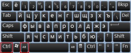 Клавиатура CTRL + ALT