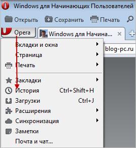 Журнал браузеров. Вернуться к посещенному сайту