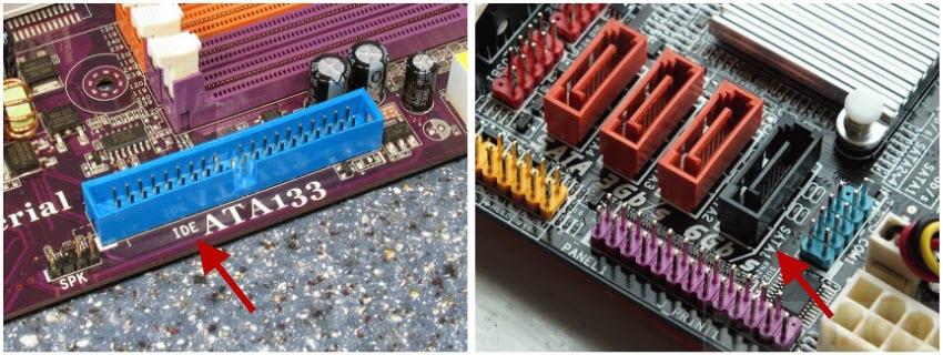 Места для подключения кабелей PATA (IDE) и SATA. Фото